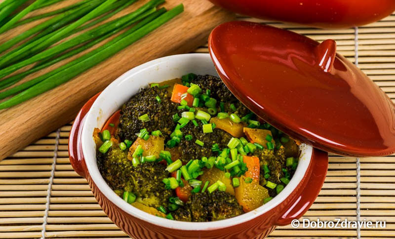 Запечённая тыква с овощами, вегетарианский рецепт приготовления с фото