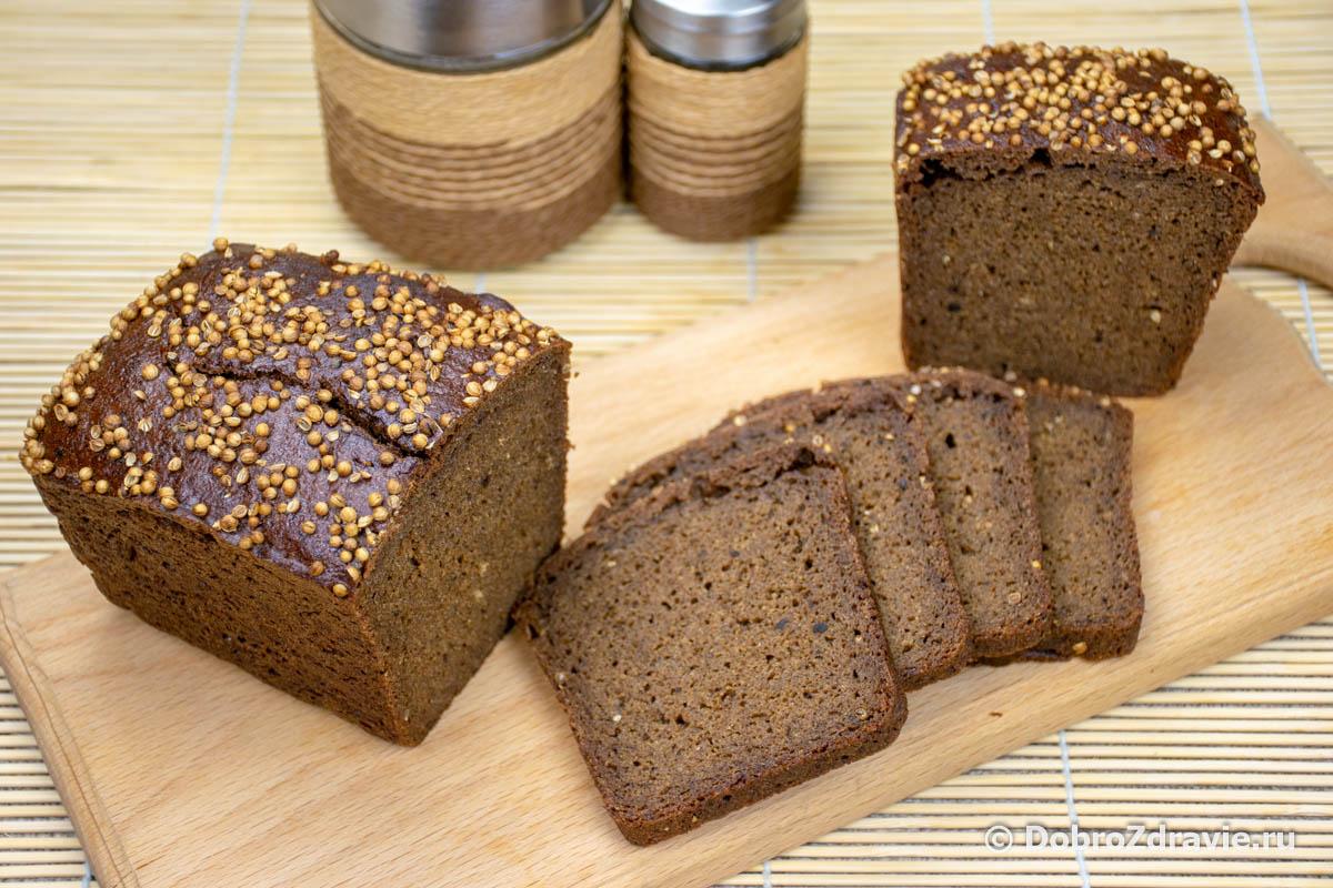 Чёрный хлеб с кориандром на закваске в домашних условиях - пошаговый рецепт приготовления с фото
