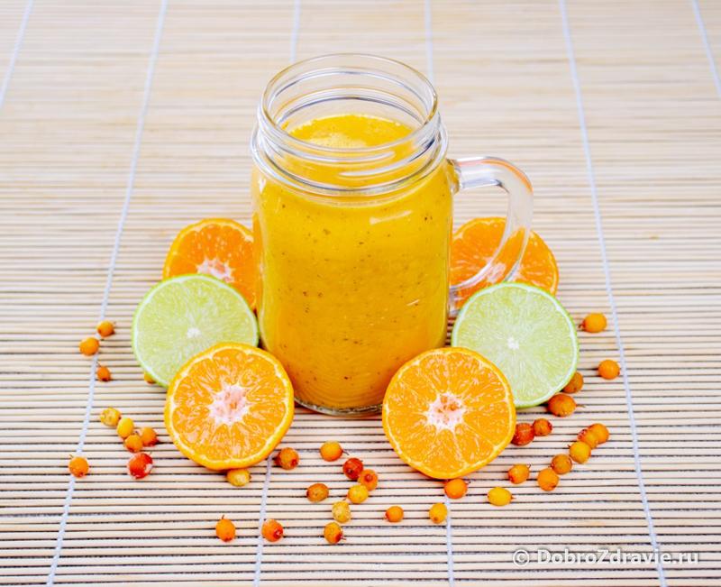 Смузи с облепихой, мандаринами и мёдом – рецепт приготовления в домашних условиях с фото